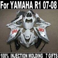 Motorcycle fairing kit for Yamaha injection molding YZF R1 07 08 white black fairings set YZFR1 2007 2008 BD28