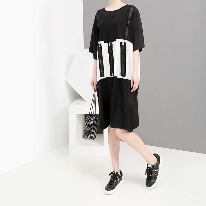 Женское свободное платье-футболка на молнии, повседневное платье средней длины с украшением из молний, модель 5159 большого размера в корейском стиле на лето, 2019