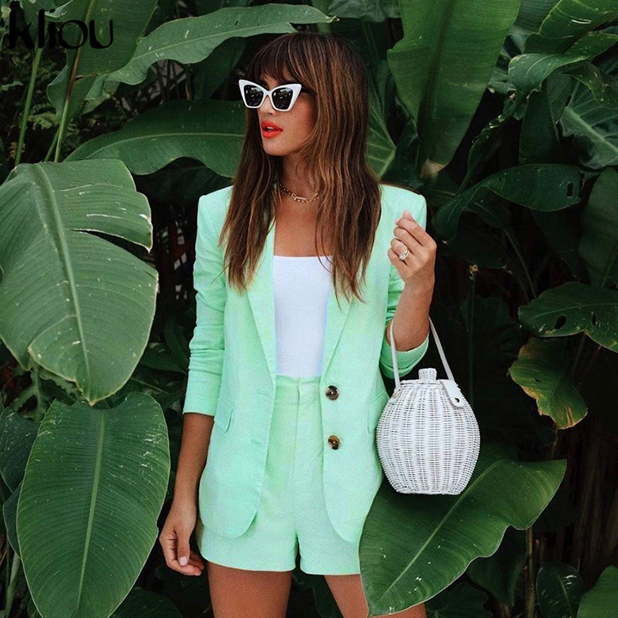 Kliou Women Casual Two Pieces Set Green Coat Turn-down V-neck Collar Single Breasted Jacket Outwear And Shorts Bottom Outfit