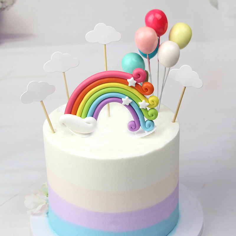 Meidding Rainbow Colorful Cake Topper Birthday Party Color