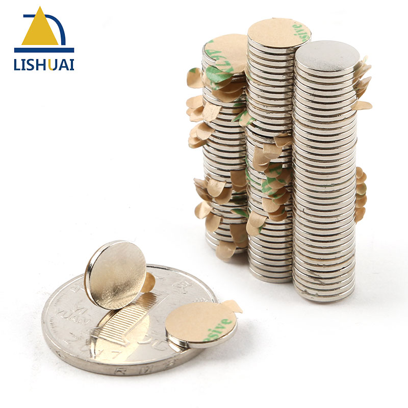 Neodymium magnet 10x1 with 3M Adhesive Rare Earth small Strong Round permanent 10*1 mm NdFeB nickle magnetic DISC|Magnetic Materials| |  - title=