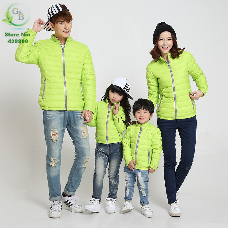 2016 Fashion Family Matching Clothes Winter White Down Coat Green Family Look Mother Father Baby Coats And Jackets Drop Shipping Coats American Coated Duplexjacket Retro Aliexpress