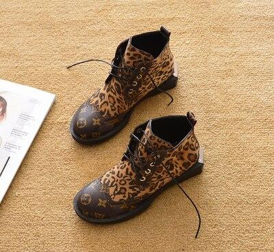 Брендовая Роскошная домашняя обувь L, новые женские демисезонные ботинки с леопардовым принтом, короткие женские зимние Ботинки Martin