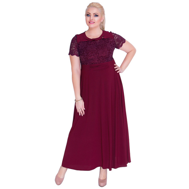 85e332178de US $25.69 12% OFF 2018 Plus Size L 6XL Women Fat MM Office Uniforms Banquet  Costumes Casual Short Sleeve Solid Party Lace Dresses Lady Dress JT-in ...