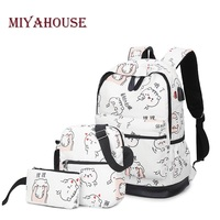 Miyahouse 3 Pcs Set Character Cats Printed School Backpack For Girls Large Capacity Canvas School Bag