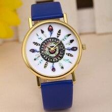 Novos Relógios Das Mulheres Da Forma Do Vintage Pena de Marcação Pulseira de Couro Relógio de Quartzo Analógico Senhoras Da Menina Relógios De Pulso