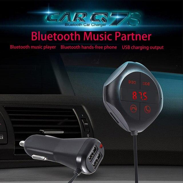 Car Wireless FM Transmitter Bluetooth handsfree Voice Navigation FM Modulator Car MP3 player Dual USB AUX Charging Socket Phone
