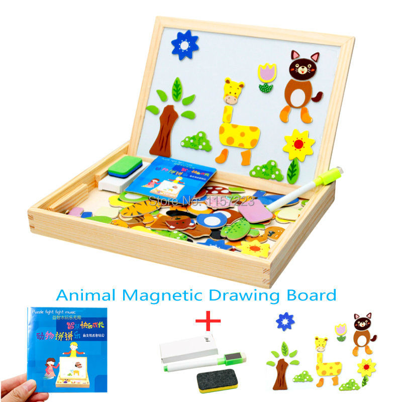 Magnetic Puzzle Toys Easel Kids Jungle Animal / Farm / Cartoon figure / Forest Wooden Fridge Magnets Puzzles For Children mylb educational farm jungle animal wooden magnetic puzzle toys for children kids jigsaw baby s drawing easel board