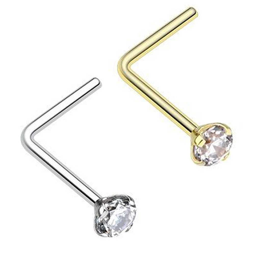 Showlove 2pcs L Shape Zircon Nose Ring Studs Prong Set Surgical