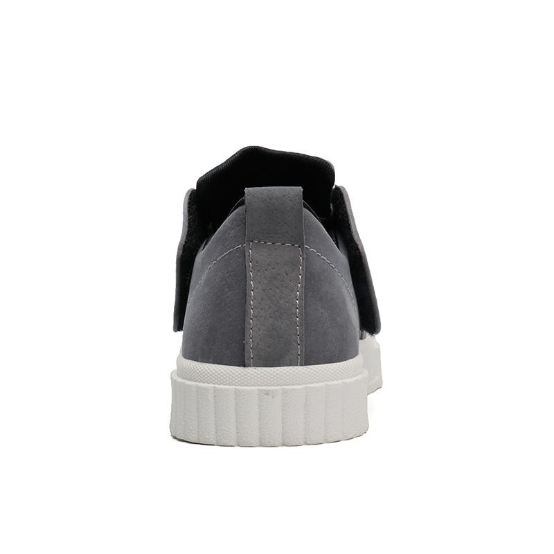Pour Casual Hommes Plates Ramialali Chaussures marron Noir De Mode En D'été gris Cuir f1nqBZU