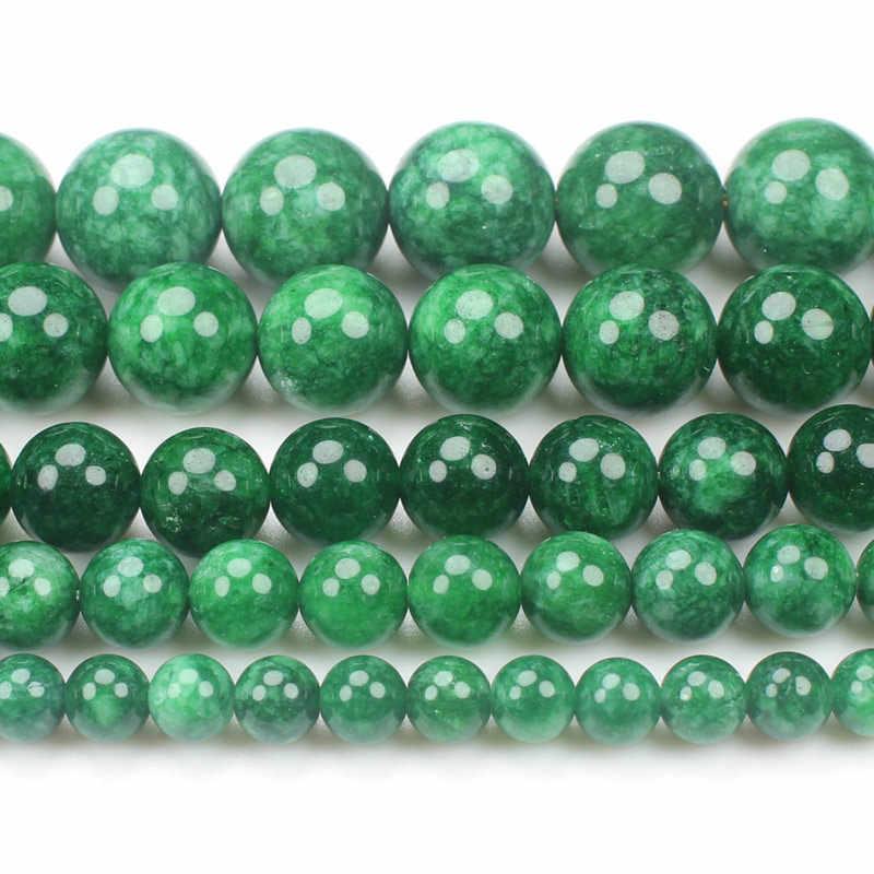 Naturalne suche zielony/czarniawy zielony Jades, Em-erald 6-14mm okrągłe koraliki 15 cal, hurtownia dla DIY biżuteria darmowa dostawa!