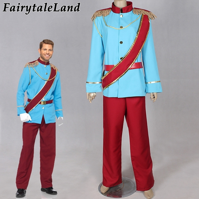 Cartoon Cinderella Prince Charming Cosplay Costume Adult Halloween Costumes Blue Prince Charming Costume suit Coronation suit