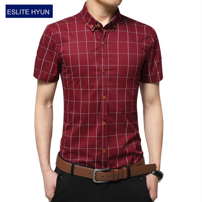 Fashion brand clothing mens short sleeve shirt 2017 summer for Mens short sleeve dress shirts slim fit