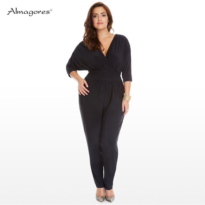 Almagores plus size big women jumpsuit rompers solid batwing sleeve deep v neck casual rompers overalls 2018 new design bodysuit