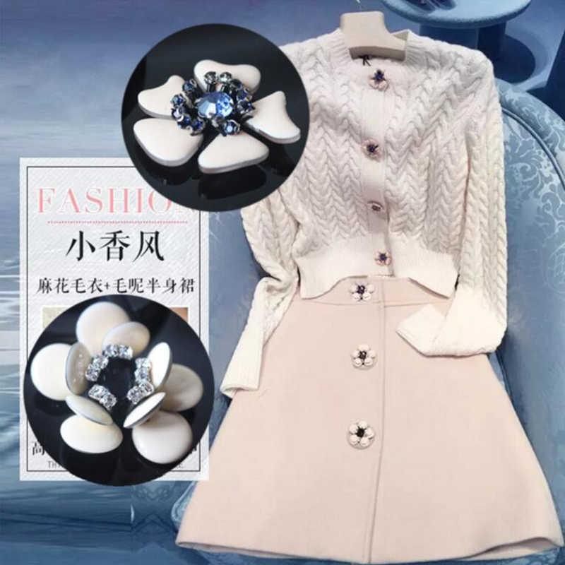 Осень и зима аксессуары горный хрусталь пуговицы Малый ладан пальто свитер юбка 3D бисером прикрепленные на ткань аксессуары патч