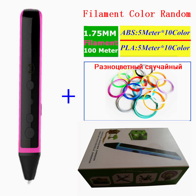 Newest 3D Pen Can Speaking Child's 3D Painting Pen 1.75mm Can ADD 1.75mm 100Meter Filament(5M x 10 Color ABS+5M x 10 Color PLA ) 3d can canada make peace