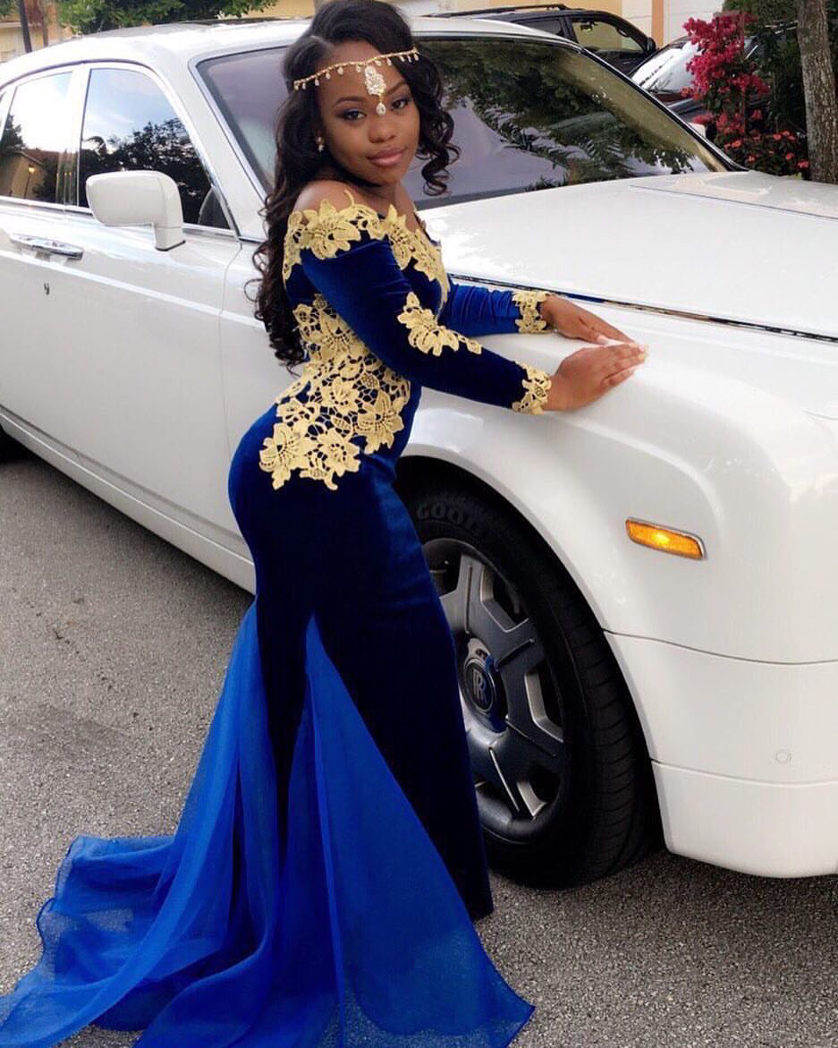 Mermaid Boat Neck Long Sleeve Gold Flower Lace Appliques Navy Blue Velour With Tulle Skirt Train Long Evening Party   Prom     Dresses