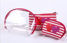 Love stripe makeup bag three-piece set, fashion new popular PVC waterproof travel with cosmetic bag
