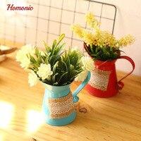 屋内人工ミニ鉢植え植物ホームデコレーションプラスチック植物植木鉢金属小さなミニホーム/ガーデン/オフィス装飾