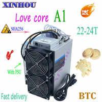 BTC BCH minero amor Core A1 22-24T SHA256 ASIC minero con PSU económico que M20S M21S T3 T2T Antminer S9 S17 T17 S17e T17e T2T T3
