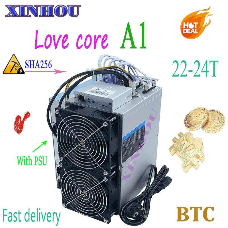 Più nuovo BTC BCH minatore Amore Core A1 Minatore Aixin A1 22-24T SHA256 ASIC Con PSU Economico Di m3 T3 T2T E9i Antminer S9 S9k T17 S17