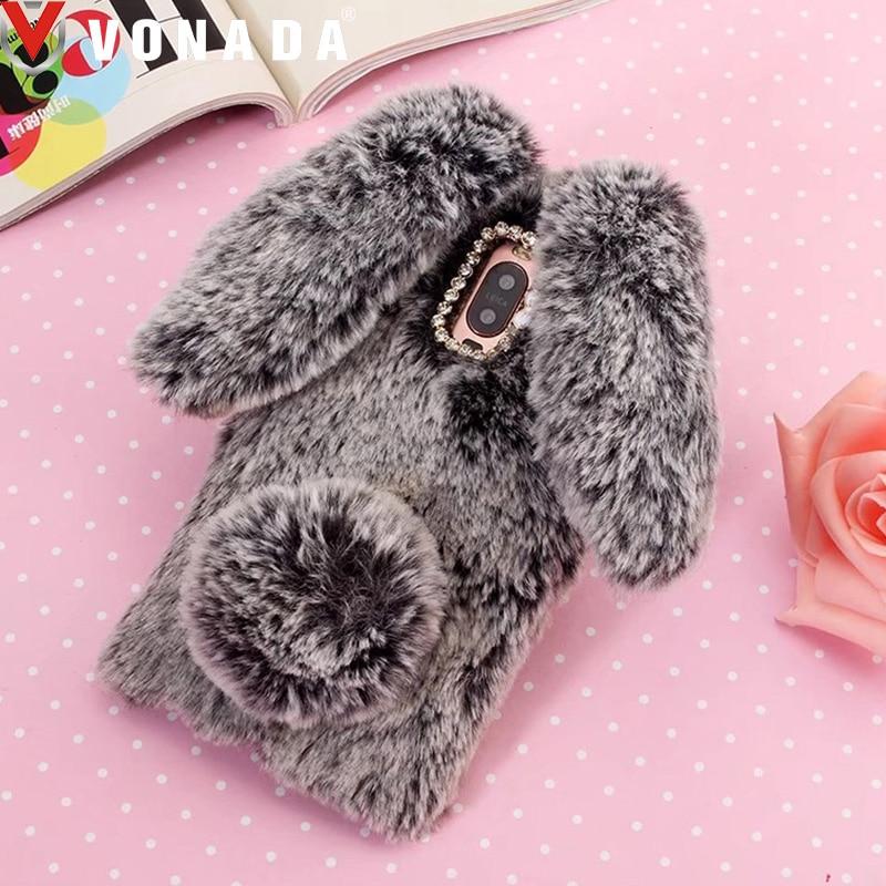 Vonada Plush Case for Wileyfox Swift 2X / Swift 2 / Spark Plus Cute Rabbit Ears Fur Cover TPU Diamond Jewelled Soft Case Cover