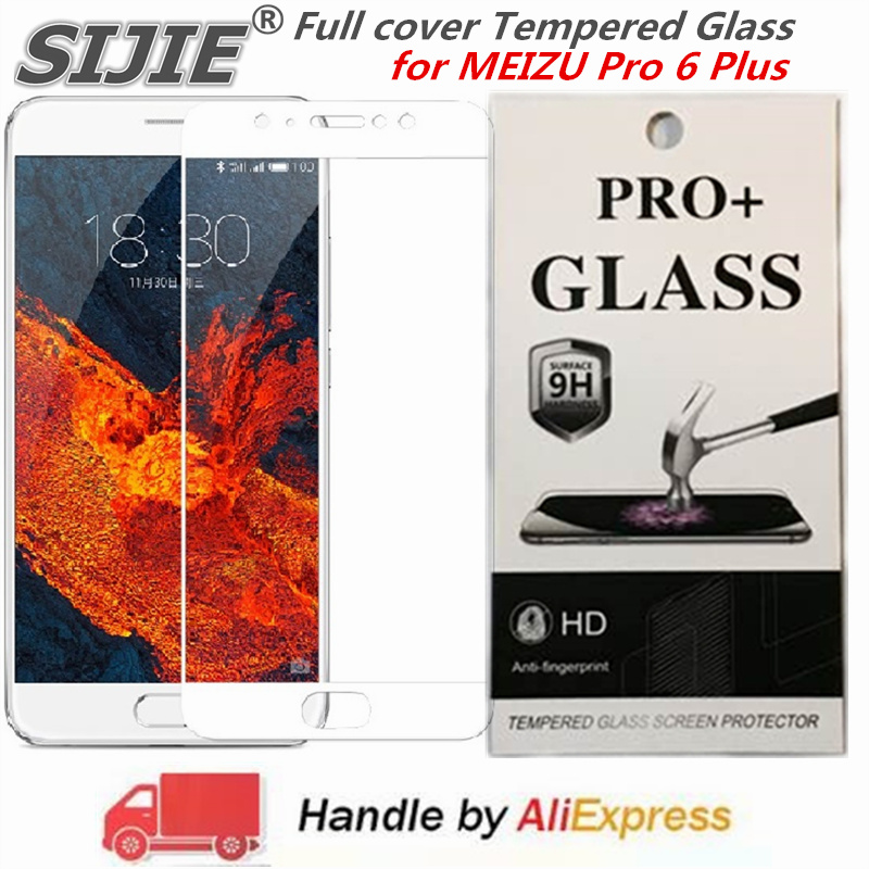 Full cover Tempered Glass for MEIZU Pro 6 Plus PRO6plus 6plus phone Screen Protective toughened on frame edges covers case in Phone Screen Protectors from Cellphones Telecommunications