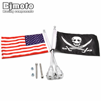 Motorcycle Rear Luggage Rack Flag Mount Pole American USA Skull Flag Kit For Harley Touring Road
