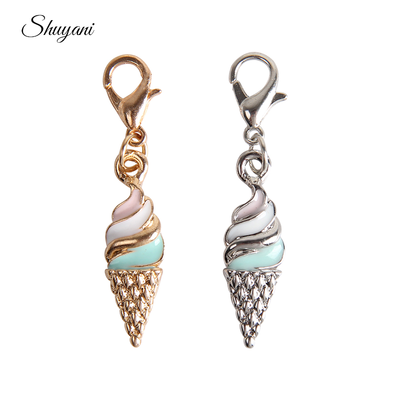 20PCS Silver Gold Color Ice Cream Floating Charms Pendant Enamel Dangle with Lobster Clasp for Jewelry Making