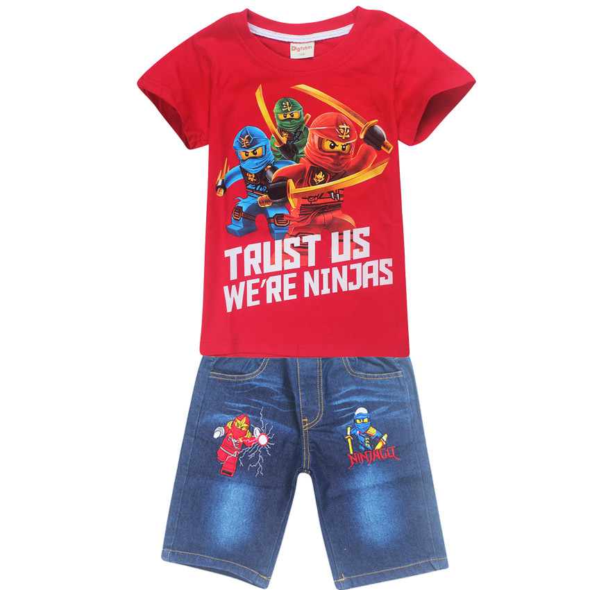 Summer Children Baby Boys Cartoon Clothes Sets Kids Character Short Sleeve Shirt Ninjago Printed Clothing Sets Child Sport Suits
