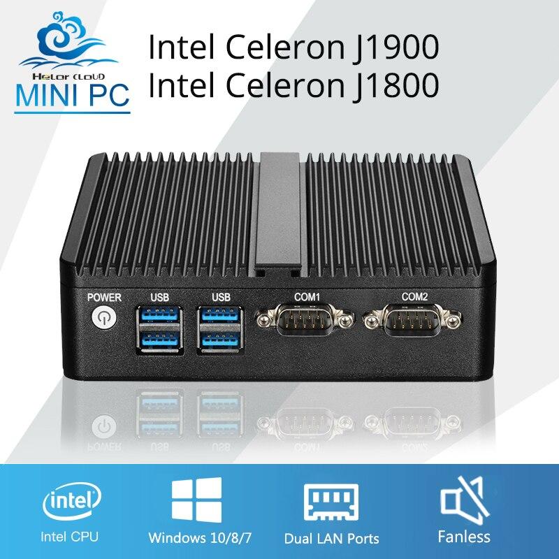 Мини-ПК компьютер Celeron J1900 4 ядра Windows 10 Linux Celeron J1800 Dual core Мини-промышленного рабочего стола Computador 2 * RJ45 ...