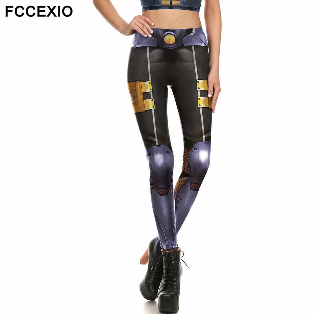 FCCEXIO Капитан Америка Железный человек металлические Доспехи Леггинсы робот механический принт женские леггинсы супергерой Прохладный стрейч фитнес брюки