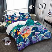 Colorful Pisces Constellation Bedding Set Kids Dreamlike Cartoon Duvet Cover Galaxy Print Home Decor Bedclothes 3Pcs
