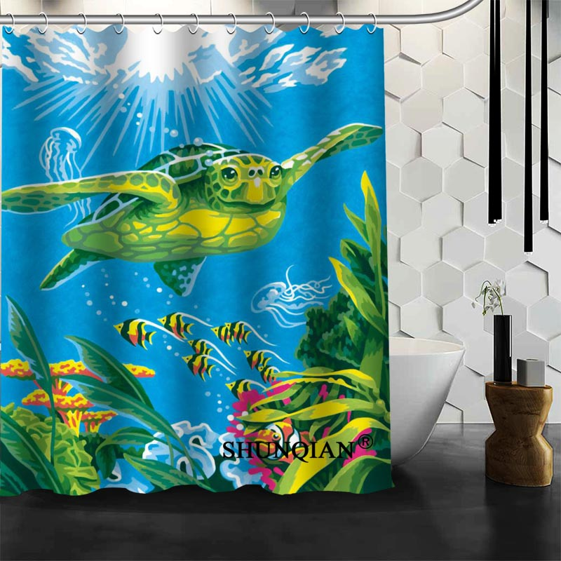 Custom Cartoon Turtle Shower Curtain New Arrival Bathroom