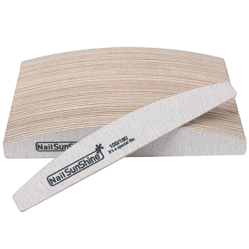 50Pcs 100/180 Sandpaper Nail Art Files Grey Wooden Sanding Nail Buffer Curved Buffing Professional Manicure Block Nail Care Tool