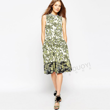 2016 new spring summer women fashion print casual dresses o-neck double pockets young lady ruffles slim green leaf thin clothing