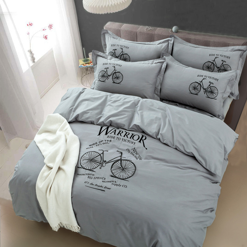 Simple <font><b>Egyptian</b></font> <font><b>cotton</b></font> Embroidered Bicycle <font><b>Bedding</b></font> <font><b>Set</b></font> <font><b>Duvet</b></font> cover <font><b>set</b></font> Bed Sheet Pillowcases 4pcs Queen King Size image