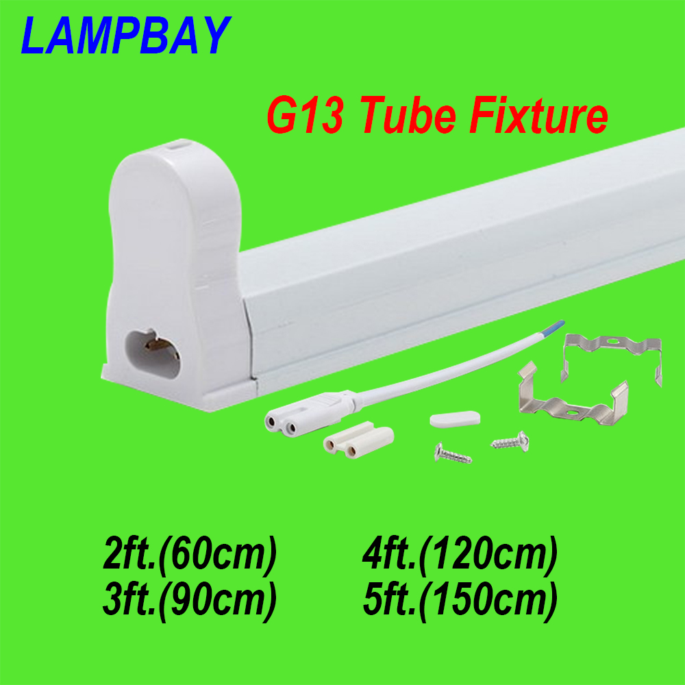 (4 Pack) Free Shipping T8 Tube Fixture 2ft.(60cm) 3ft.(90cm) 4ft.(120cm) 5ft.(150cm) G13 fluorescent bar fitting with accessory 4 pack free shipping t5 integrated led tube lights 5ft 150cm 24w lamp fixture with accessory milky clear cover 85 277v