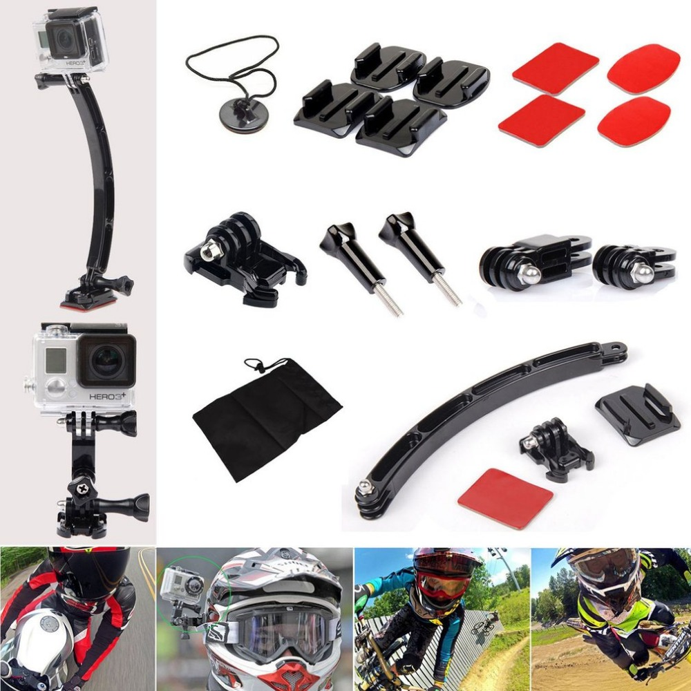 Action camera accessories Motorcycle helmet Mount Bracket Kits Bicycle Riding accessories for Go pro 4/3+ Action Camera