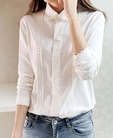 Cute White Blouse Women Cotton Lace Embroidery Peter Pan Collar Long Sleeve Tops Shirt Plus Size