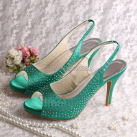 15 Colors Custom Crystalized Crystals Women Designer Shoes Sandals Wedding Party Green Free Shipping