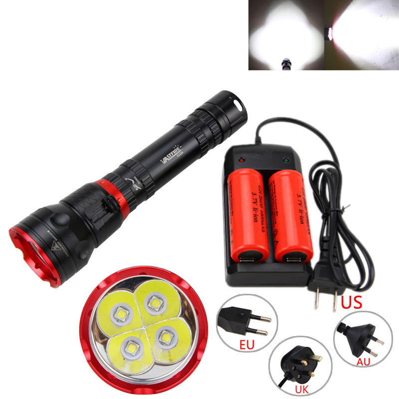 15000LM 4x XM L2 LED Rechargeable Underwater 100M Scuba Diving Flashlight Lantern With 26650 Battery Charger
