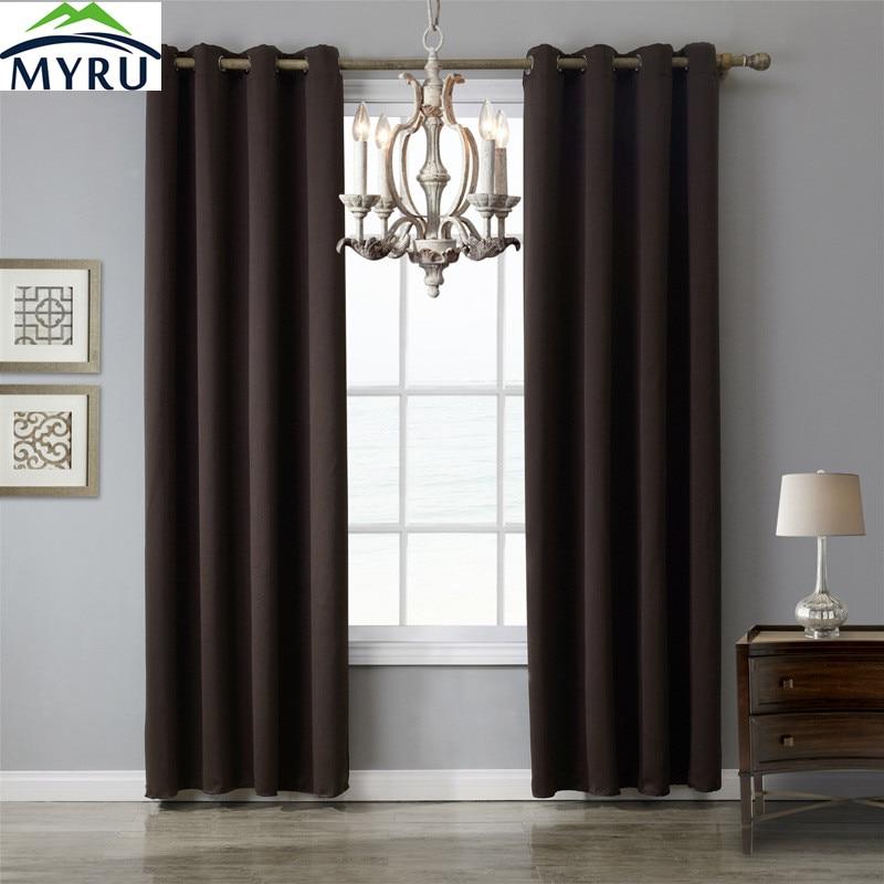MYRU Long Brown Color Blak Out Window Curtains 4 Sizes