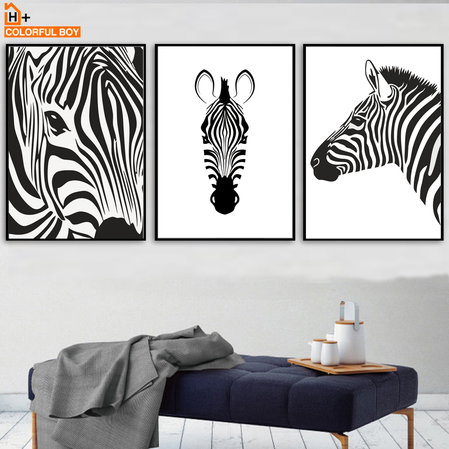 COLORFULBOY Zebra Black and White Nordic Posters And Prints Wall Art ...