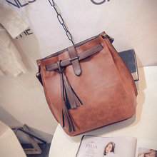 Brand Women Bag Tassel Handbags Solid Shoudler Bags Ladies Pu Leather Woman Messenger Bag Brown/red/gray / green