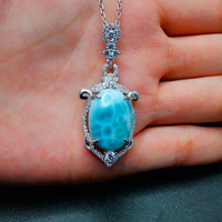 925 Sterling Silver Jewelry Pendant Inlaid Real Big Oval 18x13MM Natural Larimar Pendant Charm for Birthday Gift without Chain