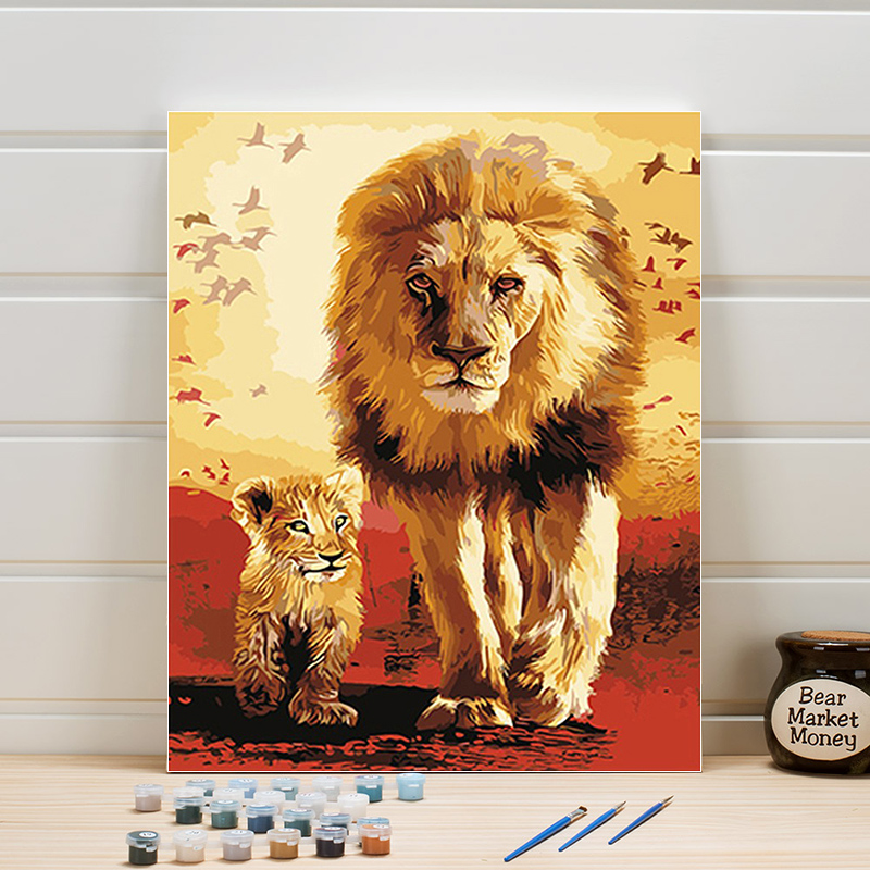 DIY Paint Painting By Numbers Animals Lion On Canvas Acrylic Coloring Art Pictures For Living Room Wall Adults Drawing One Piece