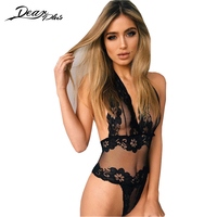 See Through Sexy Lace Bodysuits Women Black Deep V ...