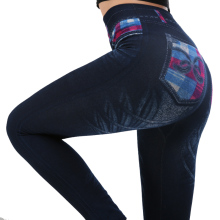 XXXL New Ladies Work Out Leggings Blue Fashion False Jean Legging Woman Trendy High Quality Type Printed Jeans