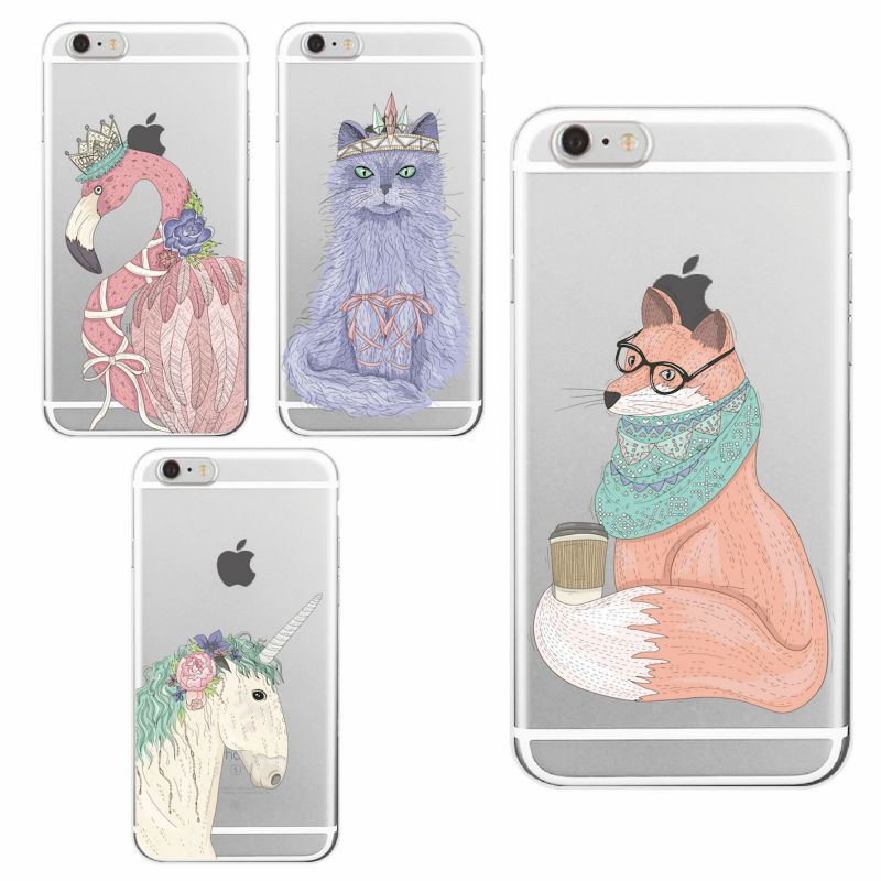 Cute Queen Fox Flamingo Unicorn Cat Animals Soft Phone Case Cover Coque Funda For iPhone 7 7Plus 6 6S 6Plus 8 8Plus X Samsung S8